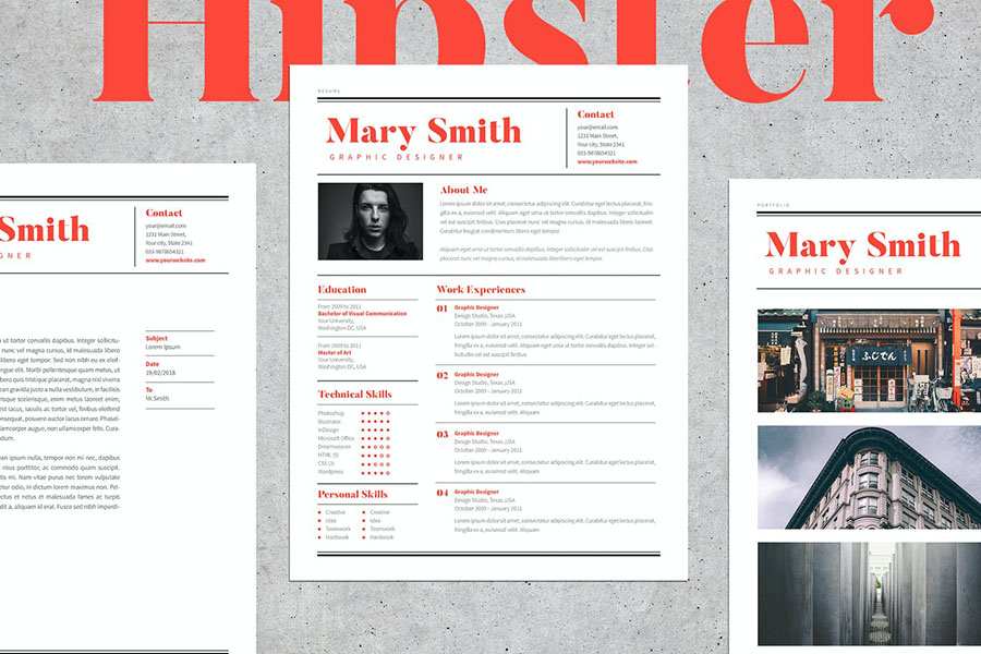Hipster InDesign Resume Template