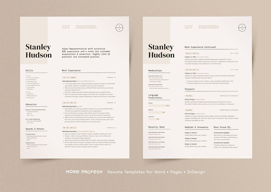 Modern Resume CV InDesign Template Design