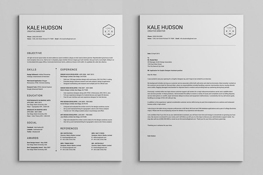 Clean Resume CV - Hudson - InDesign Template