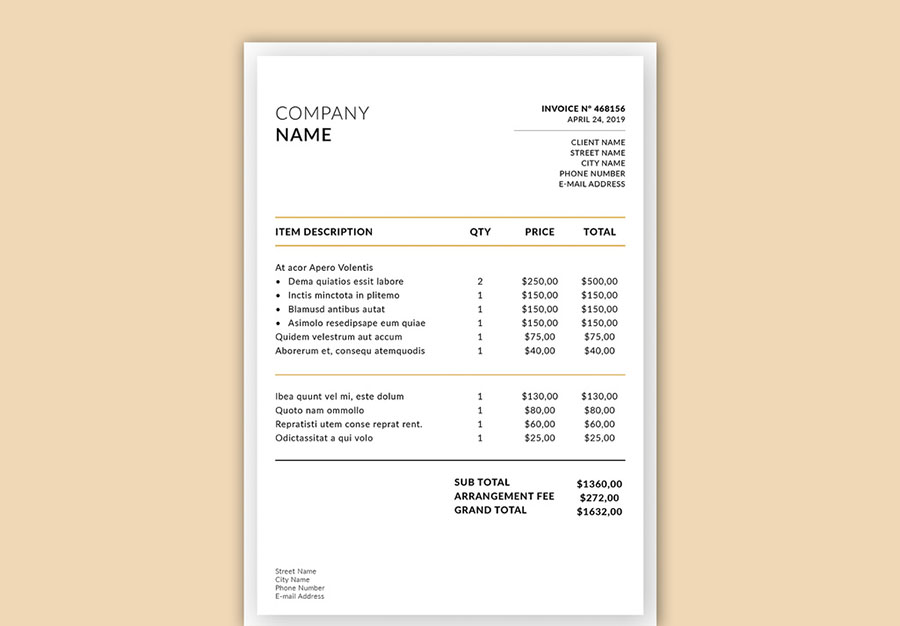 Business Invoice Layout