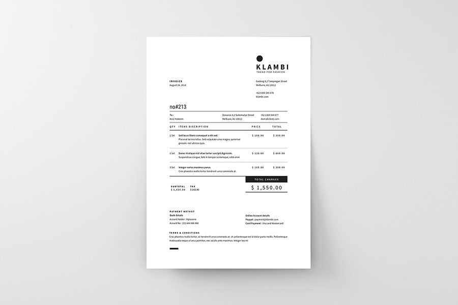Modern and Simple Invoice Templates for Adobe InDesign