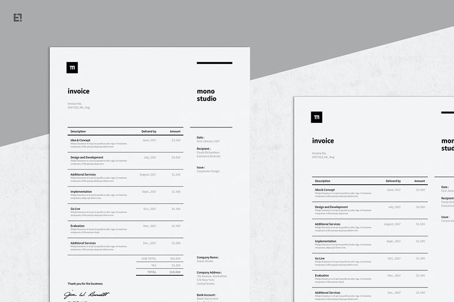 Professional Invoice Documents Template Pack