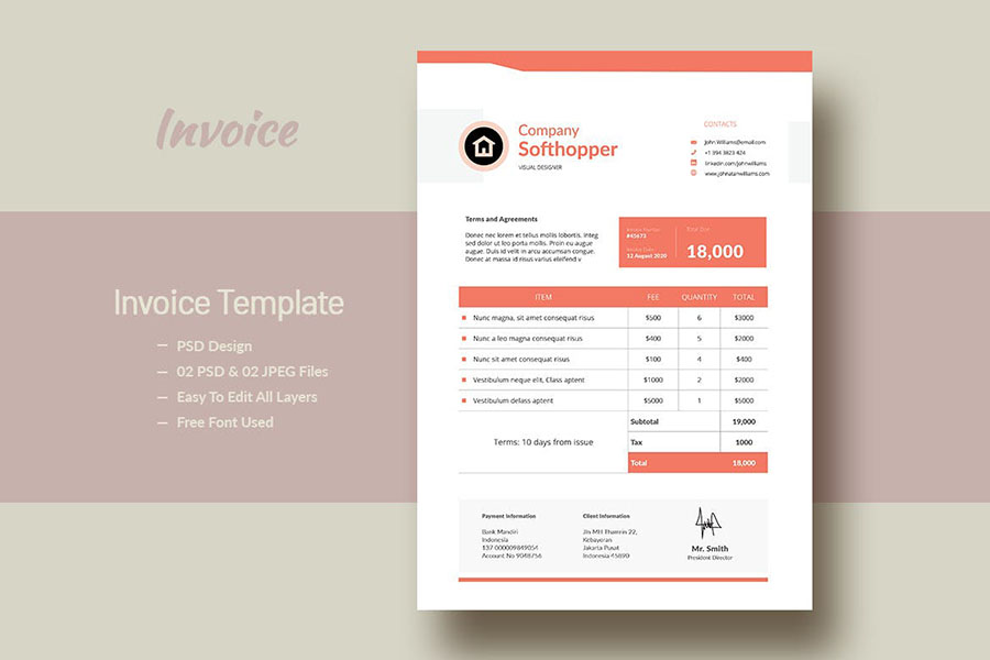 Company Invoice Templates with Peach Accents for Adobe InDesign