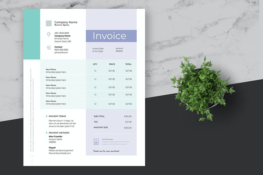 Minimal and Clean Business Invoice Template
