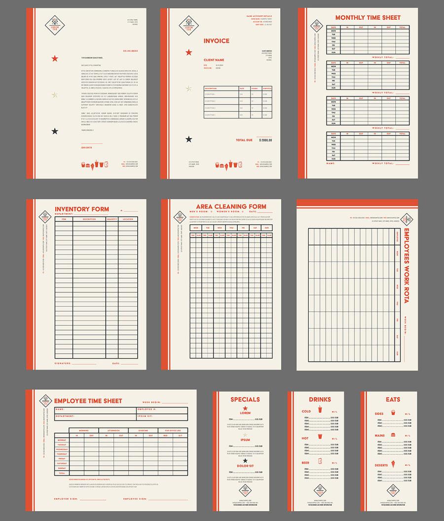 Off-White Restaurant Kit Layout Set with Dark Orange Accents