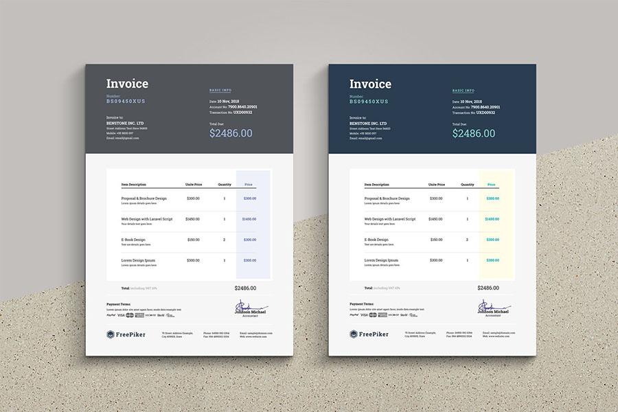 Minimal Dark Top Invoice Template