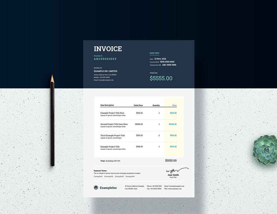 Invoice Layout with Dark Blue Header