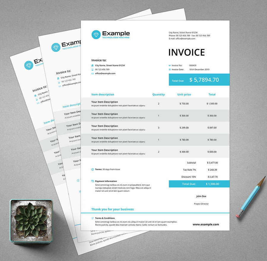 Invoice Layout with Blue Accents