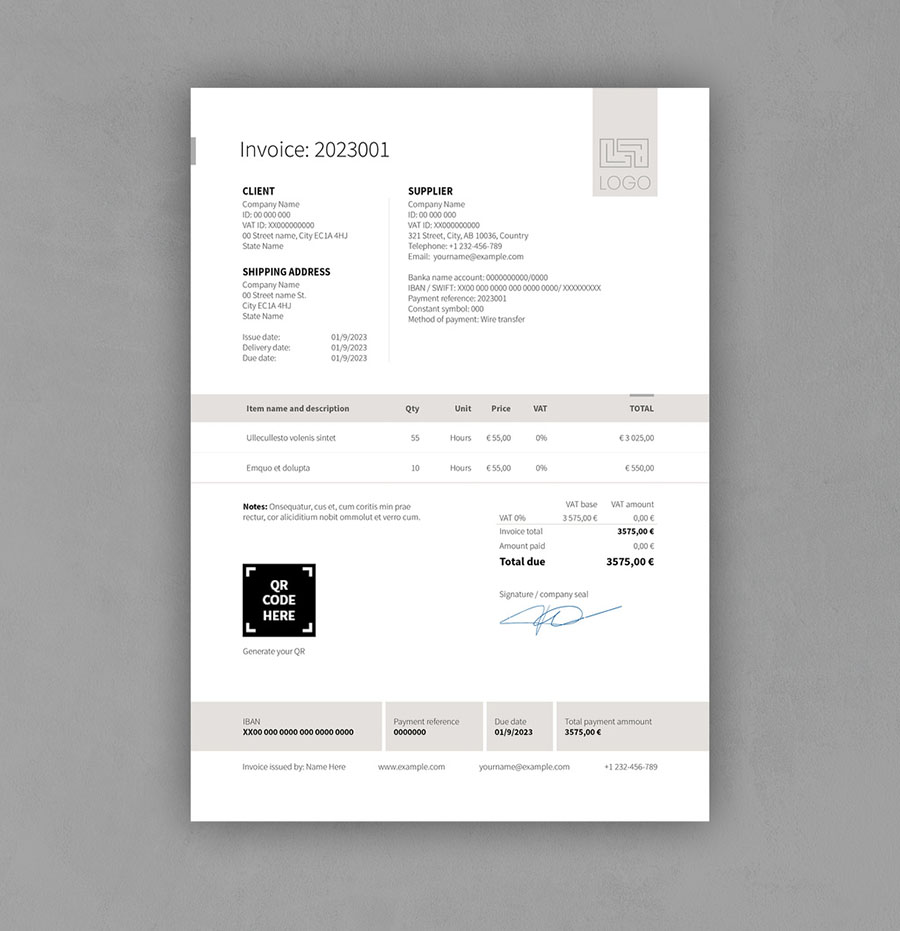 Invoice with Gray Header and Footer Elements
