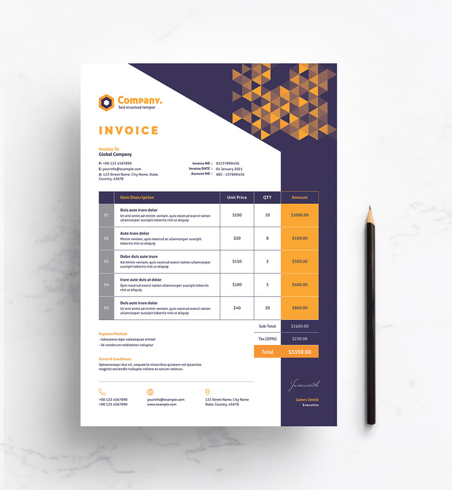 Invoice Layout with Yellow Gradient Triangle Elements