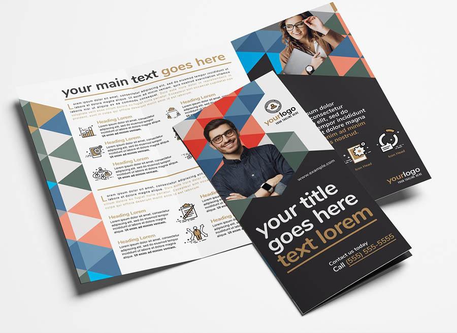 Modern Corporate Brochure with Geometric Pattern