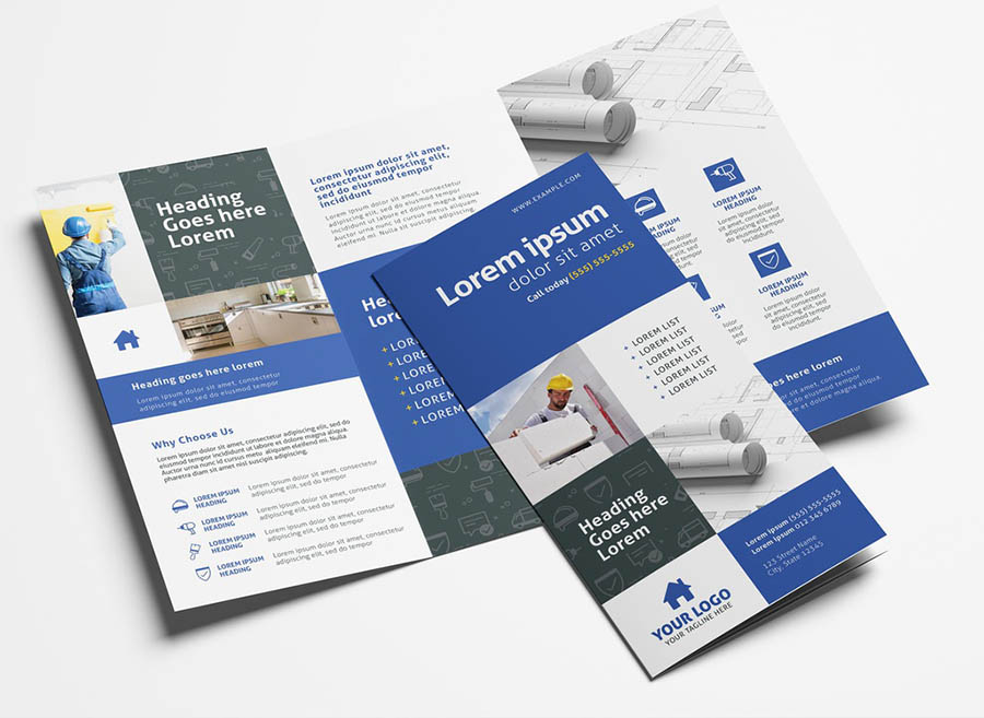 Construction Service Trifold Brochure with Multipurpose Layout