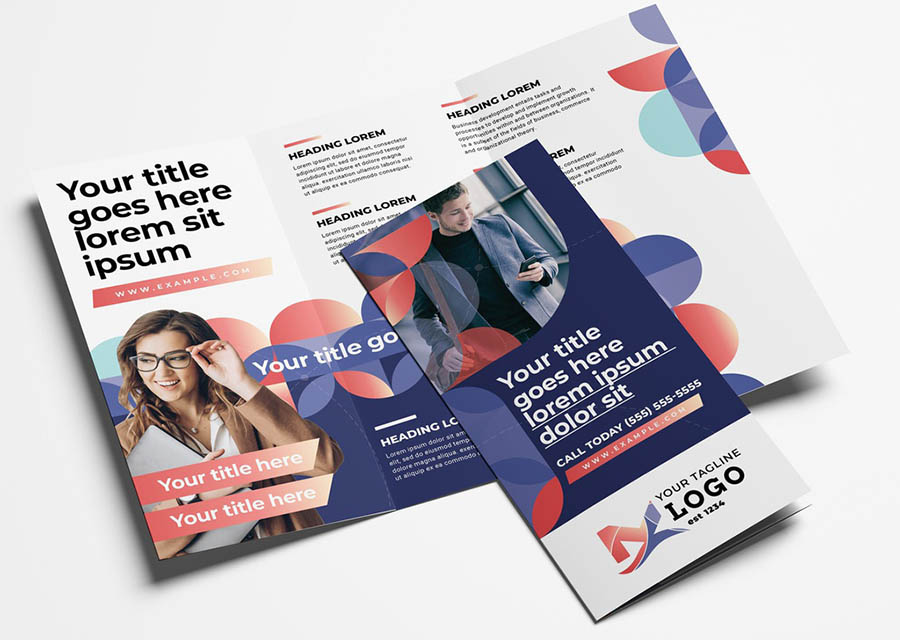 Corporate Brochure Trifold with Modern Circular Pattern