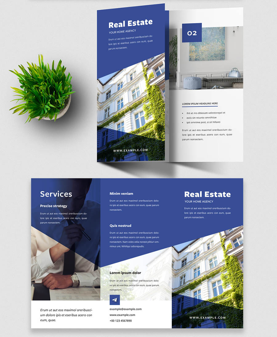 Modern Trifold Brochure Design Layout with Blue Accents