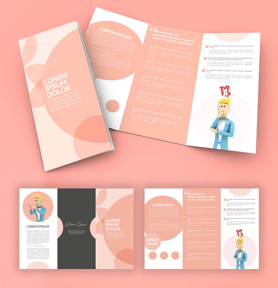 Trifold Brochure Layout with Pink Accents and Business Illustrations