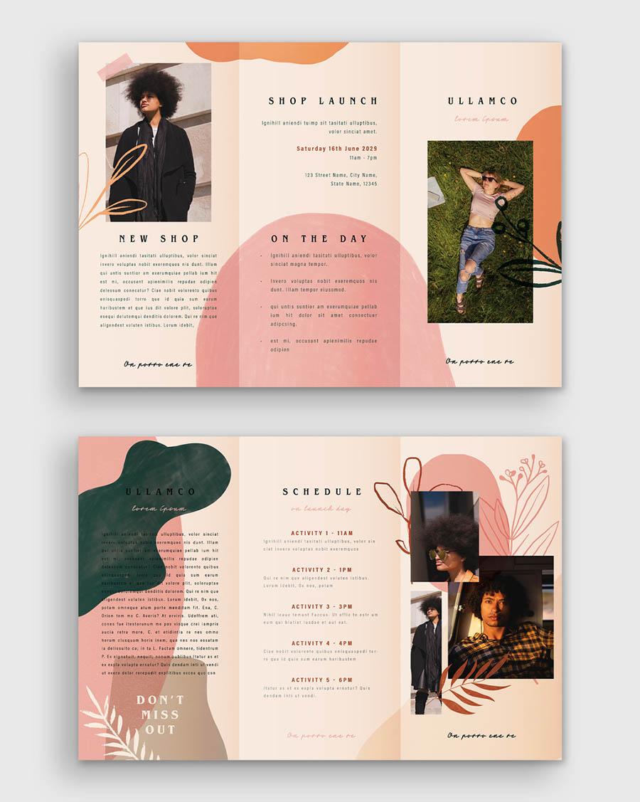 Hand Drawn Floral Brochure Layout
