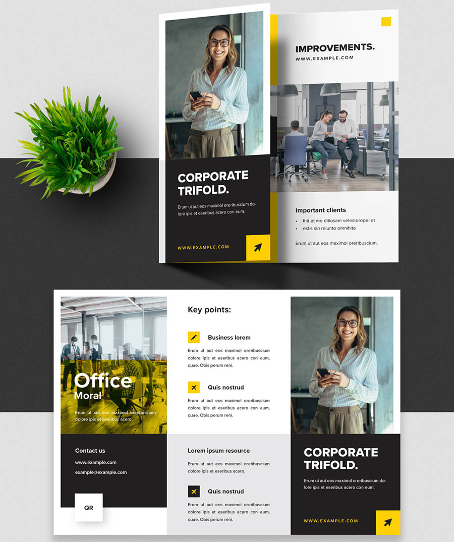 Black and Yellow Trifold Brochure Layout