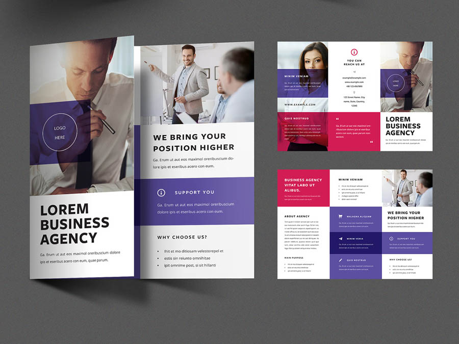 Business Trifold Brochure Layout with Red and Purple Overlays
