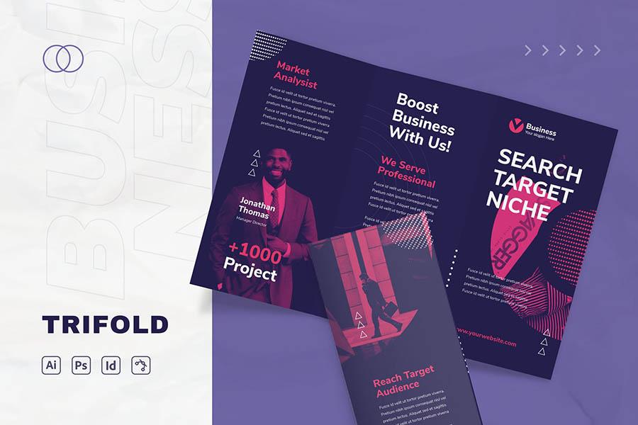 Purple Tri Fold Brochure Templates for InDesign