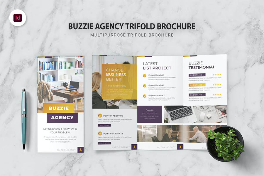 Buzzie Agency Trifold InDesign Template