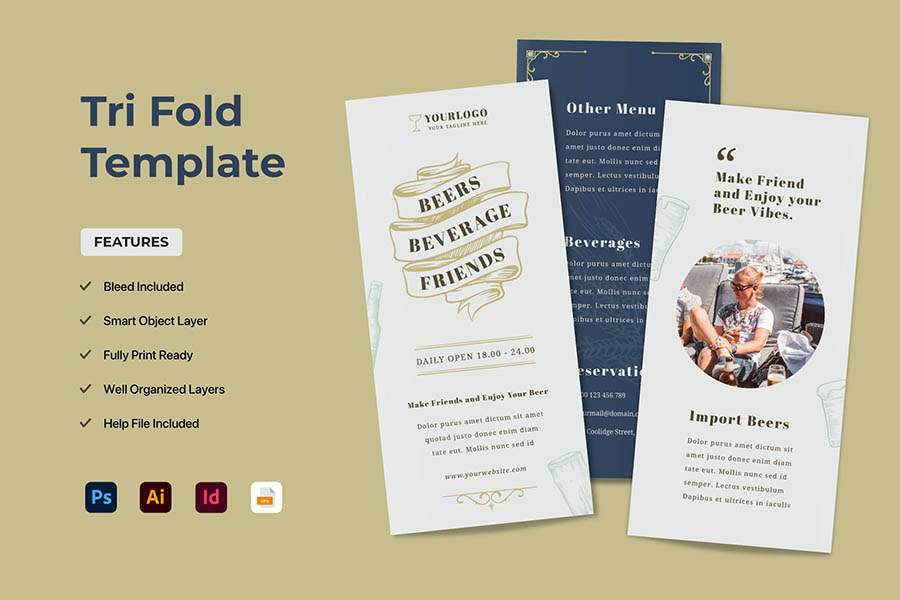 Tri Fold Brochure Templates for InDesign