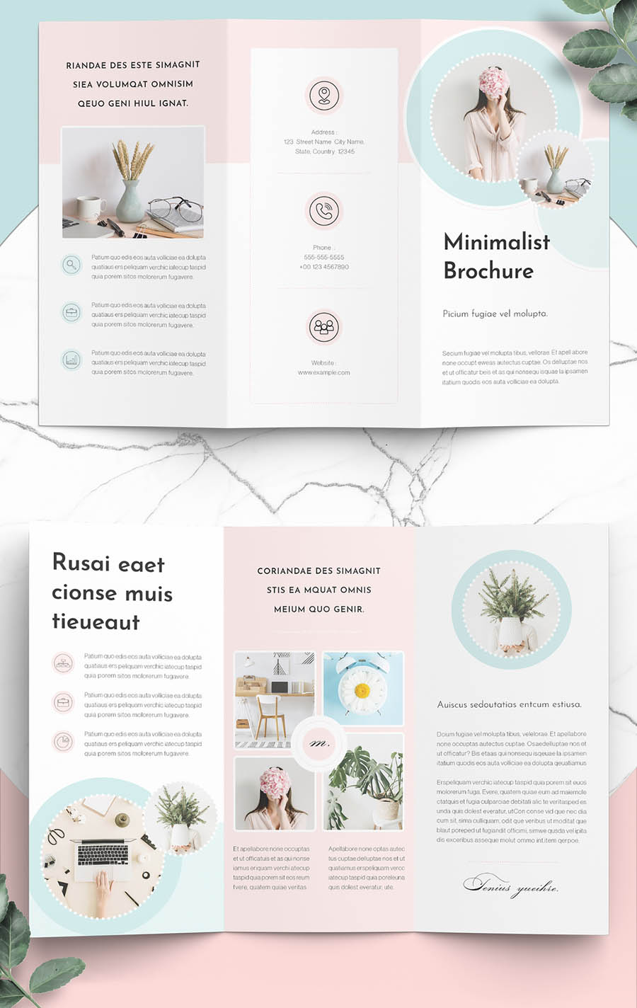 Minimalist Brochure Layout with Mint and Pink Accents