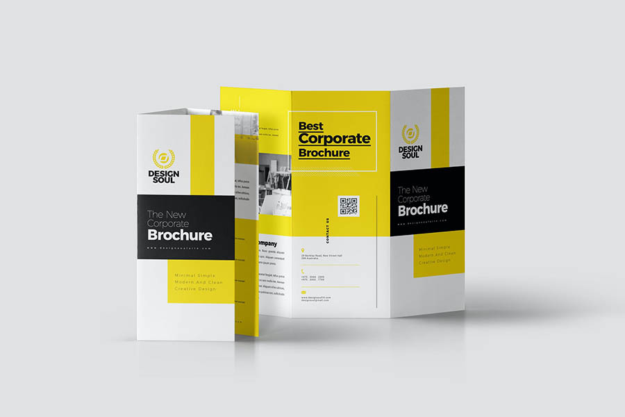 New Black & Yellow Corporate Trifold Brochure
