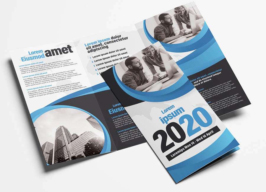 Corporate Business Trifold Leaflet Layout with Ribbon Element