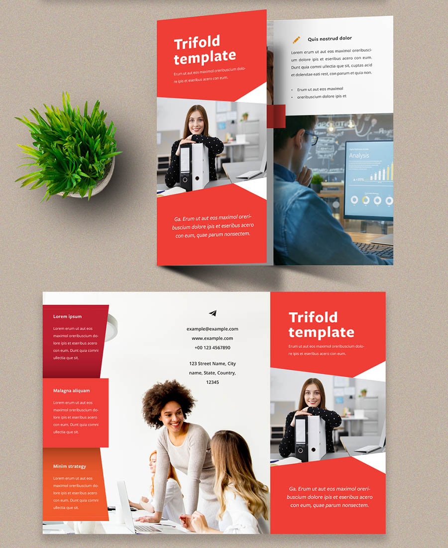Trifold Brochure Design Layout with Orange Accents
