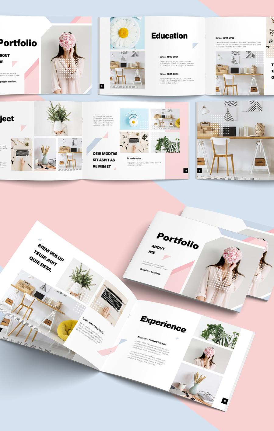 Landscape Portfolio Layout with Pink and Blue Pastel Elements