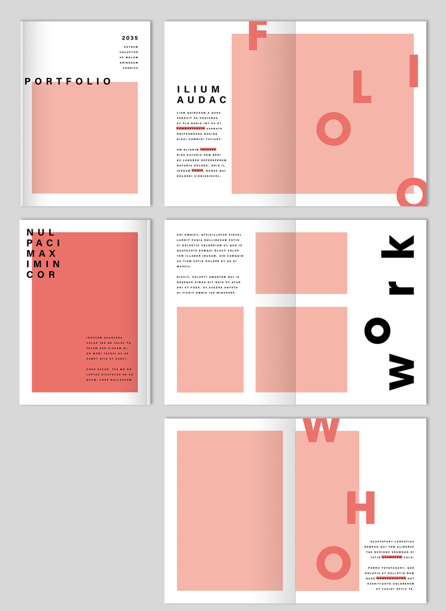 InDesign Portfolio Layout with Coral Accents