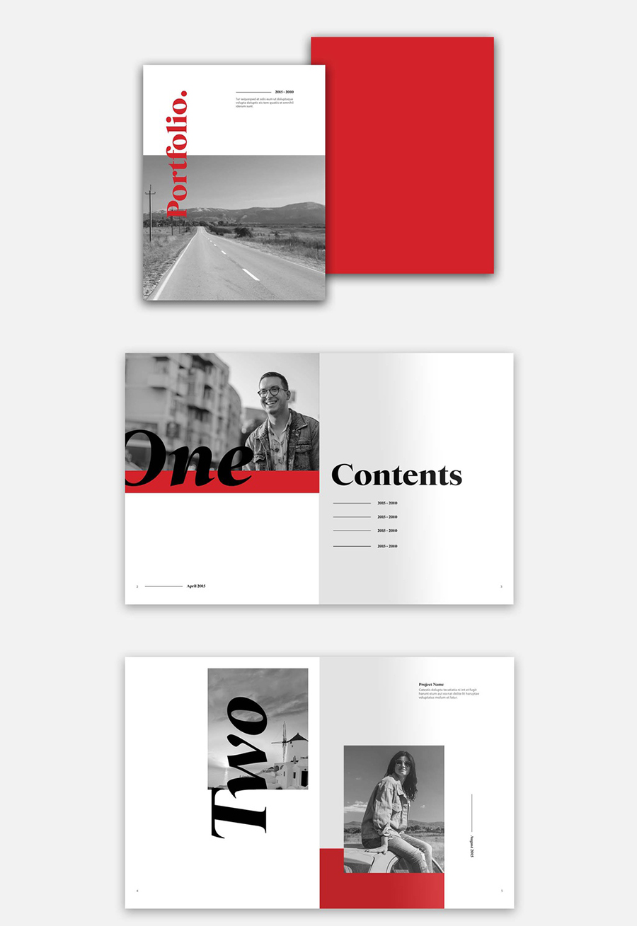 Red Portfolio Layout with Bold Type