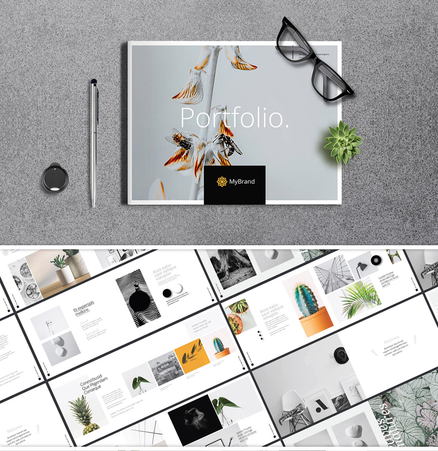 Portfolio Brochure Layout with Orange Accents