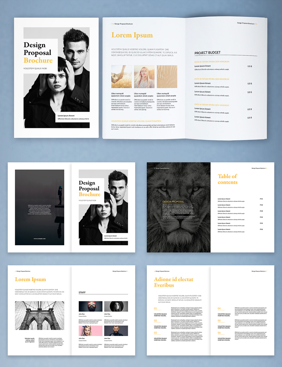 Design Proposal Brochure Layout with Yellow Accents