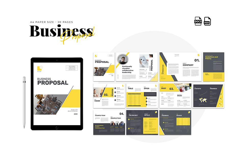 INDD Proposal Template with Yellow Accent