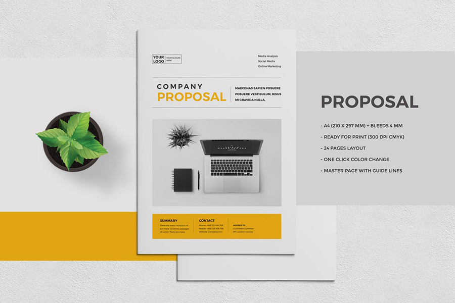 Company Proposal with Yellow Accents