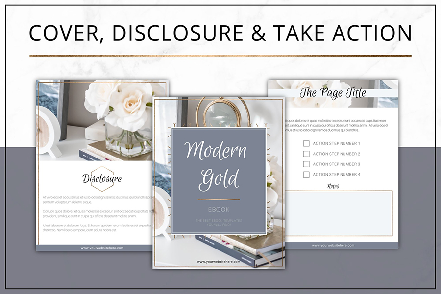 Gold eBook Template Canva | InDesign