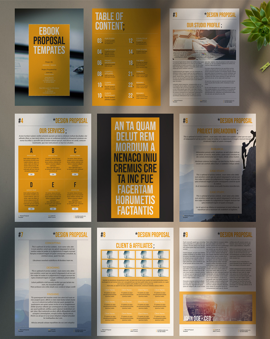 Minimal Design Proposal Layout with Yellow Accent
