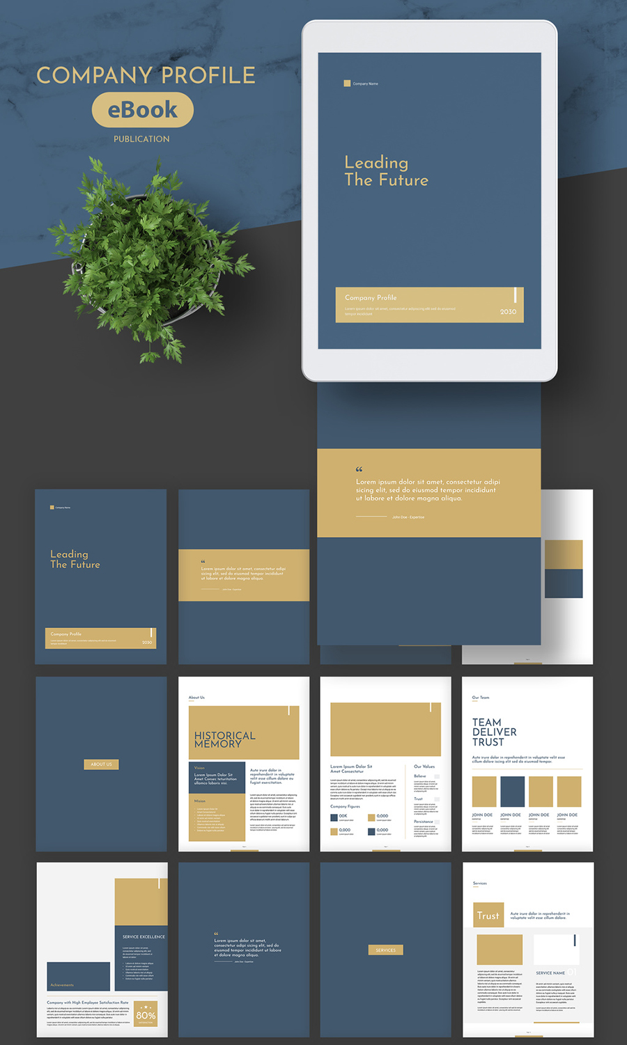 eBook Company Profile Layout with Gold and Dark Teal Accents