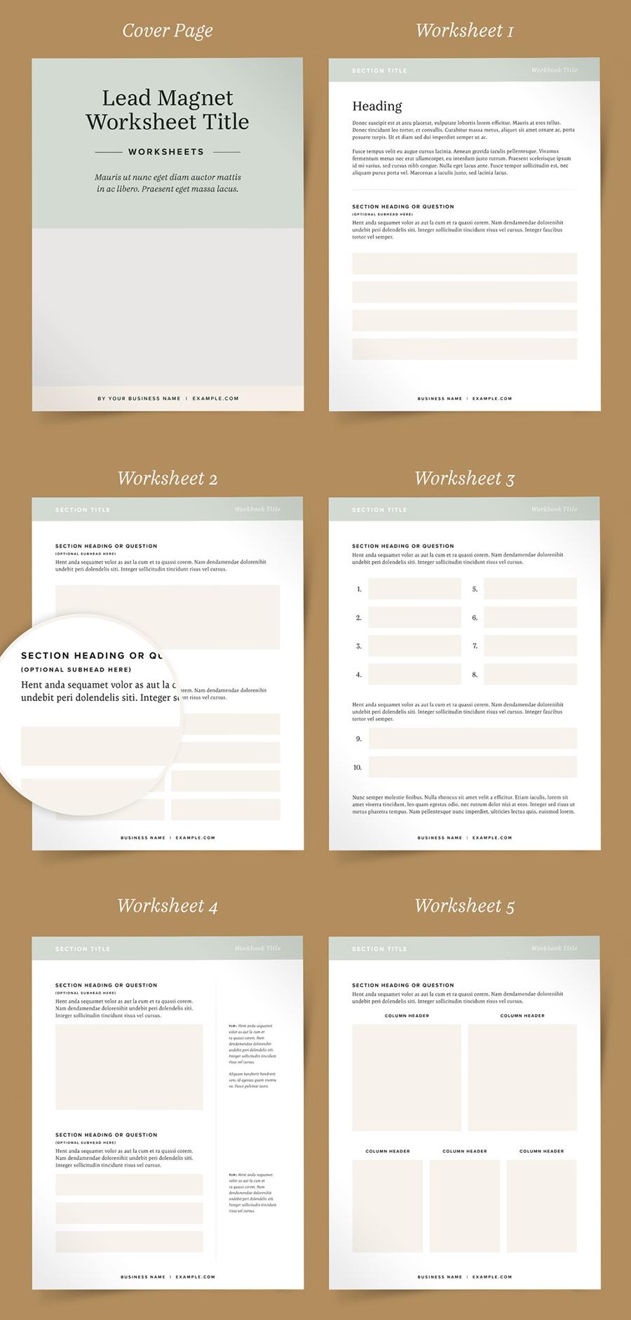 Worksheet Booklet Layouts