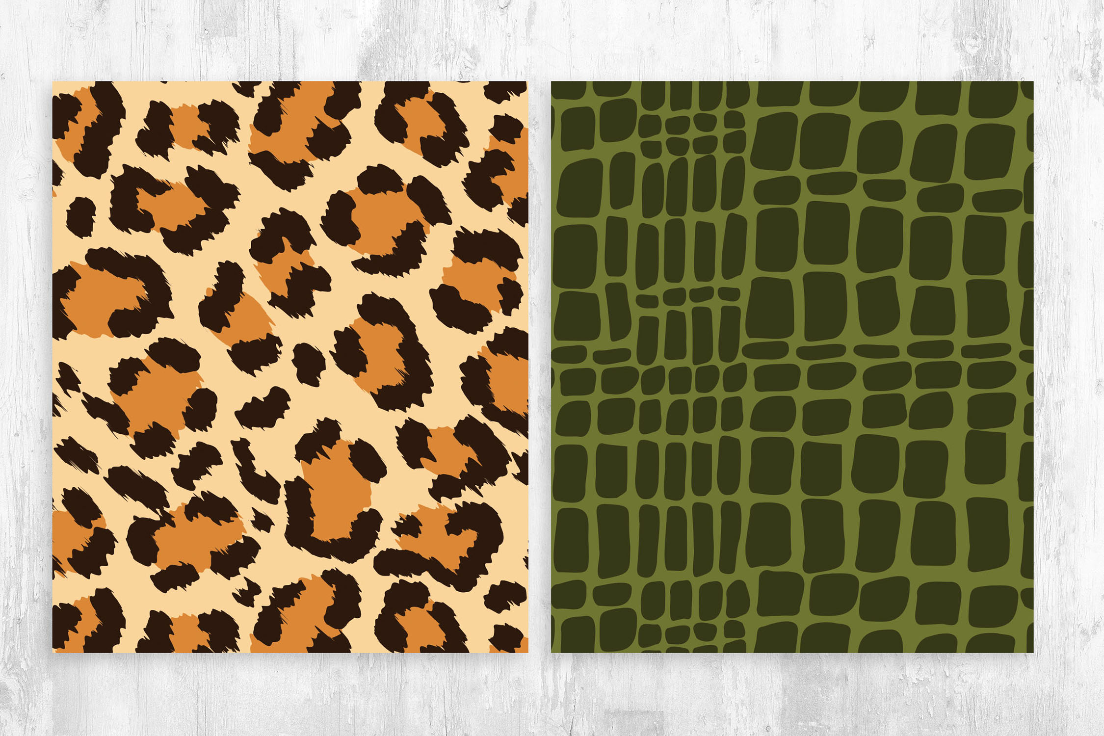Leopard & Crocodile Skin Pattern for Photoshop & Illustrator