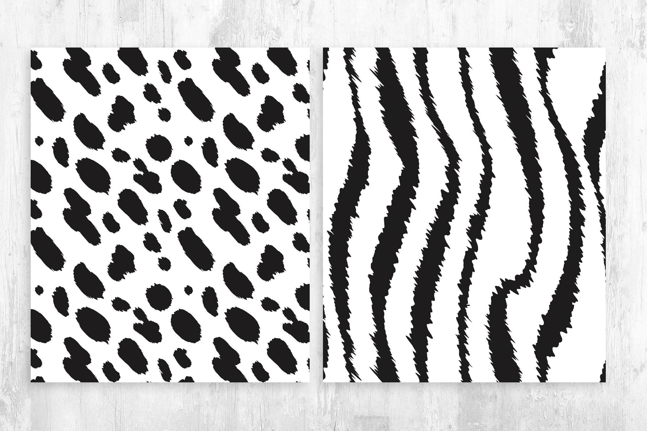 Cow & Zebra Skin Patterns for Photoshop & Illustrator
