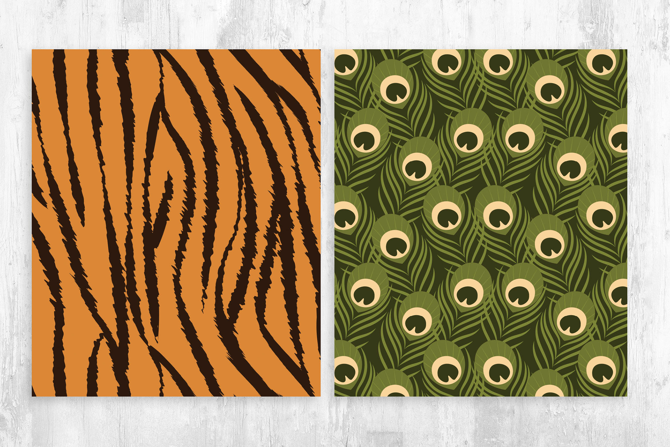 Tiger & Peacock Pattern for Photoshop & Illustrator