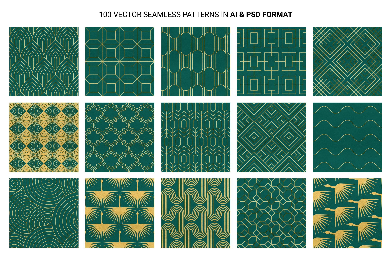 Art Deco Patterns for Photoshop, Illustrator, PNG