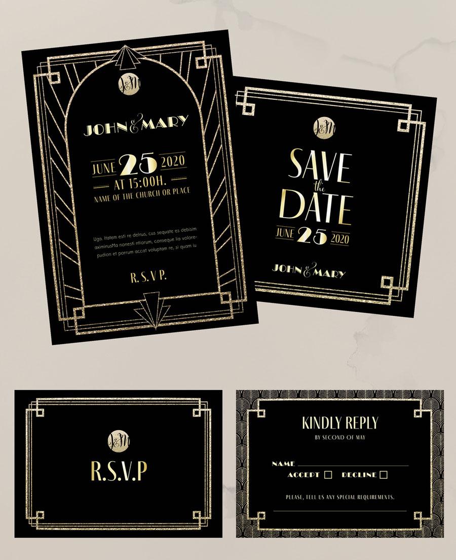 Black and Gold Art Deco Wedding Set Layout