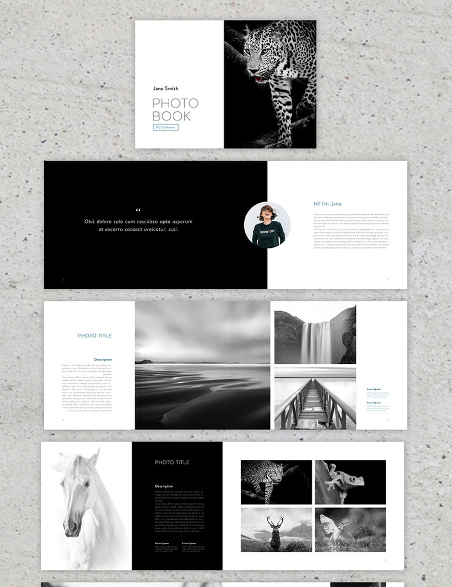 Black and Green Minimal Style Photobook Layout