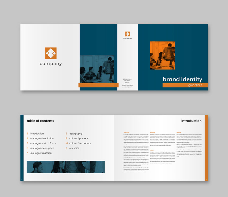 Blue and White Brochure with Orange Accents