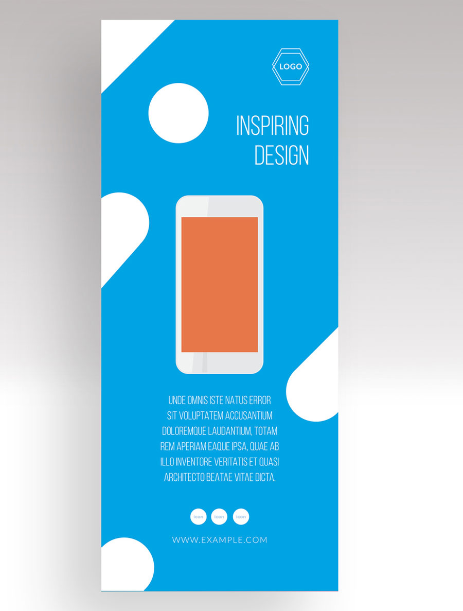 Blue and White Vertical Banner Advertisement Layout