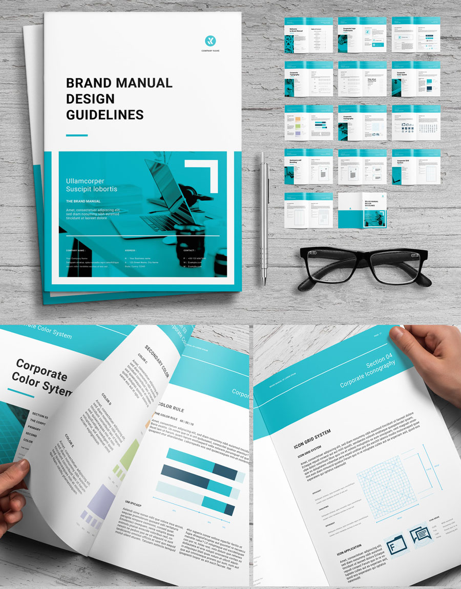 Brand Manual Layout with Teal Accents