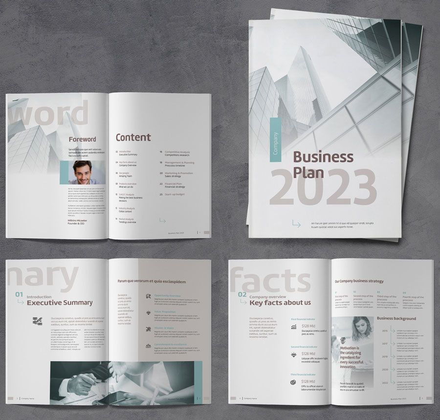 Business Plan Brochure with Brown and Blue Accents